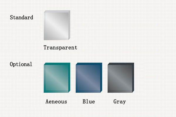 Various colors for interior glass plates